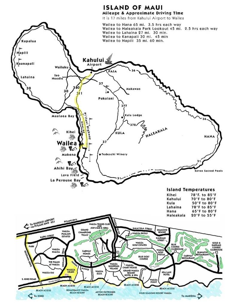 Map Of Wailea Maui Maui Rental Condo Ekahi 42e